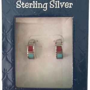NIB 425 sterling silver stone drop earrings